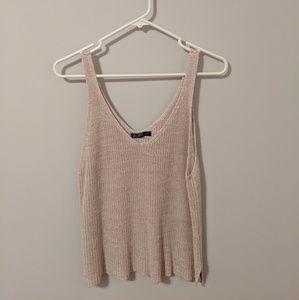 Cotton On Light Pink V-Neck Sweater Tank Top, L